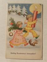 Régi karácsonyi képeslap 1943 angyalos mókusos levelezőlap