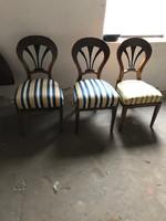 Múlt századi székek, 3 db, újra kárpitozva, restaurálva, lakberendezéshez
