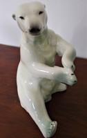 24 cm magas porcelán, kézzel festett, Kispesti Gránit jegesmedve