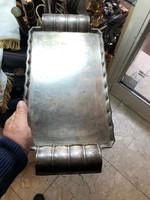 Mesterjeles alpakka art deco tálca, 43 x 20 cm-es, hibátlan.