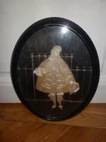 Antik kézzel készített selyem kép barokk úrfi