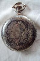Gyönyörű Nielós ezüst Philadelphia  jelenetes Zsebóra