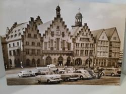 Régi német szép fotó képeslap, Frankfurt / Main  (Römerberg)