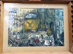 Göldner Tibor, különleges hangulatú festmény, Jelenetes, Emberek, Nyüzsgő utcakép!