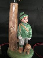Retro kerámia figurális lámpa vadász fiú kutyával