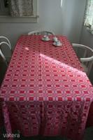 280 cm es piros fehér kockás damaszt pamut asztalterítő - újszerű terítő