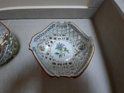 Herendi Viktória mintás porcelán áttört kínáló tál