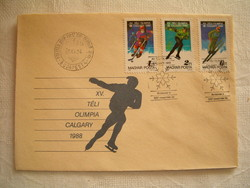 XV. Téli olimpia Calgary FDC boriték levél bélyeg KIÁRUSÍTÁS 1 forintról