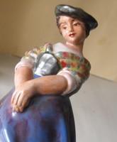 Kalapos kislány antik osztrák kerámia 1930-38