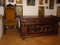 Antik neoreneszánsz dolgozószoba garnitúra eladó kézi faragással