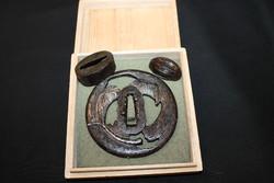Antik japán tsuba-fuchi-kashira szett katanához