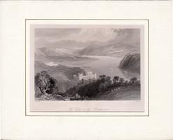 Blackwater valley, steel engraving 1843, original, 12 x 18 cm, Ireland, lismore, passport, engraving