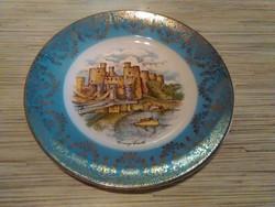 Gyönyörű Angol porcelán jelenetes dísz tányér szép aranyozással.