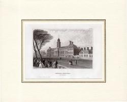 Chelsea - Hospital, acélmetszet 1850, eredeti, 9 x 14, Anglia, paszpartuban, metszet, kórház, London