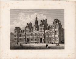 Párizs, Városháza, acélmetszet 1870, eredeti, 14 x 19, metszet, Franciaország, hivatal, Szajna part