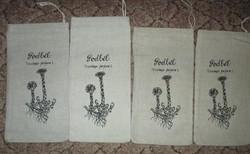 4 db kis vászon zsák gyógynövény mintával