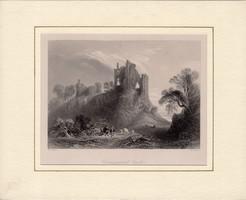 Carrigogunnell Castle, steel engraving 1843, original, 13 x 18, Ireland, Limerick, Passport, engraving