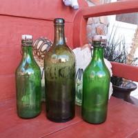 3 db Kristály vizes üveg, palack , csatos üvegek, üveg, nosztalgia