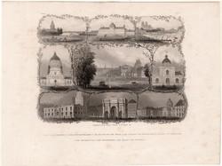 Párizs, képek, acélmetszet 1850, eredeti, 12x16, metszet, Notre - Dame, Versailles, Luxemburg palota