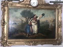 1848-as témájú antik képóra, aranyozott fakeretben. Negyedütős, zenélő szerkezettel. Jó állapotú.
