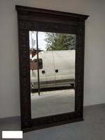 Antik domborított réz lemezzel dúsan díszített keményfa ónémet bútor tükör falra 1800 as évek közepe