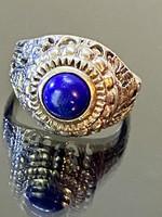 Régi ezüst gyűrű lápisz lazuli kővel