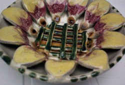 Iparművész kerámia falitál, ritka szépségű asztalközép