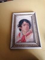 Michele Palumbo olasz festő gyönyörű portréja eredeti keretben