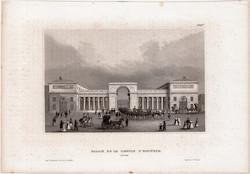 Palais de la Legion D'honneur, acélmetszet 1850, eredeti, 9 x 14 cm, metszet, Párizs, palota, légió