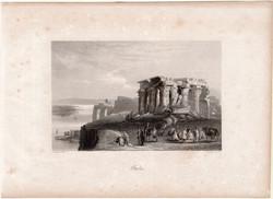 Ombos, acélmetszet 1850, eredeti, 10 x 16 cm, metszet, Egyiptom, Afrika, Kom Ombo, dél, templom, rom