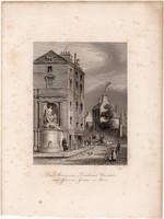 Cuvier emlékmű, kút, acélmetszet 1850, eredeti, 11 x 15, metszet, Párizs, Franciaország, növénykert