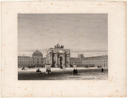 Palace of the Tuileries, steel engraving 1870, original, 14 x 19, engraving, Paris, France, palace