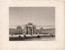 Tuileriák palotája, acélmetszet 1870, eredeti, 14 x 19, metszet, Párizs, Franciaország, palota