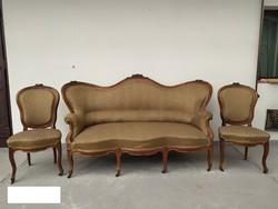Antik neobarokk kanapé szófa + 2 szék szalon garnitúra