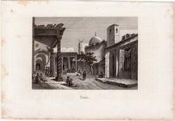 Tunisz (2), acélmetszet 1880, eredeti, 9 x 13 cm, metszet, Tunézia, Afrika, észak, főváros