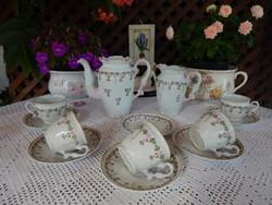 Antik szecessziós porcelán rózsás teás készlet