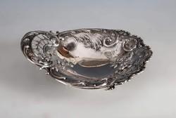 Ezüst barokkos kínáló áttört minátval