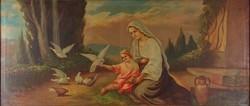 1C219 Koppány jelzéssal: Galambokat etető Jézus és Mária szentkép 1938