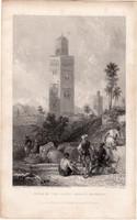 Marokkó, Nagy mecset tornya, acélmetszet 1837, eredeti, 10 x 15, metszet, Afrika, dzsámi, müezzin