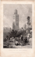 Morocco, large mosque tower, steel engraving 1837, original, 10 x 15, engraving, africa, mosque, muezzin
