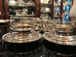 Ezüst 6 személyes csésze szett teázáshoz