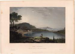 Lake Avernus, acélmetszet 1850, metszet, eredeti, 9 x 14 cm, Avernói - tó, Olaszország
