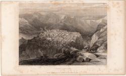 Constantine (2), steel engraving 1837, original, 10 x 14 cm, engraving, Algeria, africa, cassava, curl