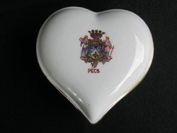 Drasche porcelán PÉCS címeres szív alakú bonbonier