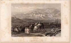 Tetouan északról, acélmetszet 1837, eredeti, 9 x 14 cm, metszet, Marokkó, Afrika, Tetuán, észak