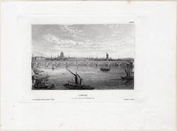 London, Waterloo Híd, acélmetszet 1850, eredeti, 9 x 14 cm, metszet, Anglia, főváros Waterloo Bridge