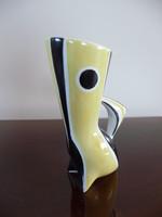 Zsolnay modern sárga- fekete csíkos váza