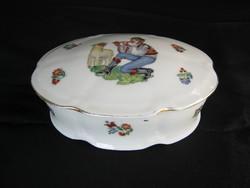 Drasche porcelán bonbonier vagy ékszertartó furulyázó juhász fiú és bárány