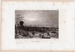 Manchester, acélmetszet 1850, eredeti, 10 x 15 cm, metszet, Anglia, ipar, város
