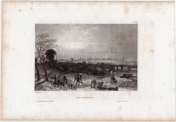 Manchester, steel engraving 1850, original, 10 x 15 cm, engraving, england, industry, city